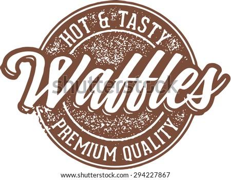 Hot Breakfast Waffles - stock vector