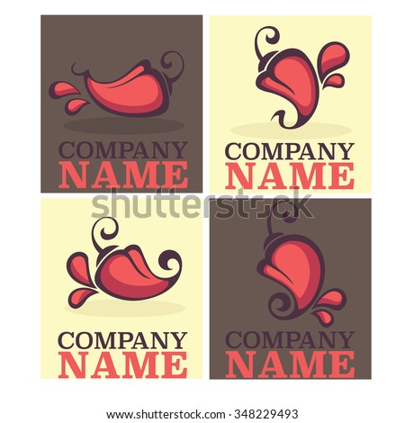 Hot chili pepper logo, icons and emblems - stock vector