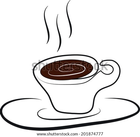 hot chocolate in coffee cup with saucer and smoke - stock vector