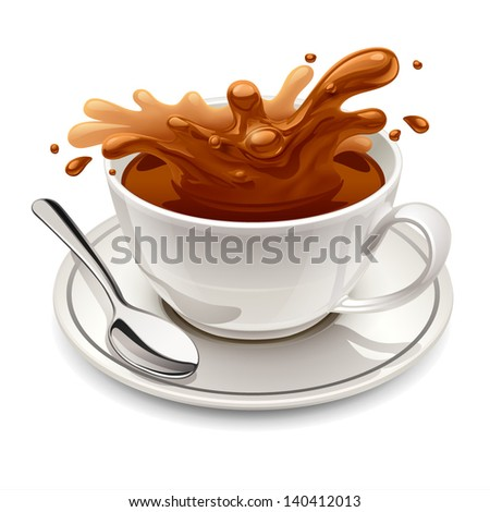 Hot chocolate splash in white cup - stock vector