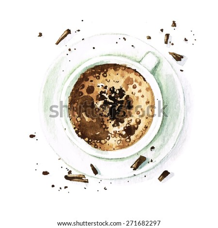 Hot Chocolate - Vectorized Watercolor Food Collection. This Design is for White Background ONLY - stock vector