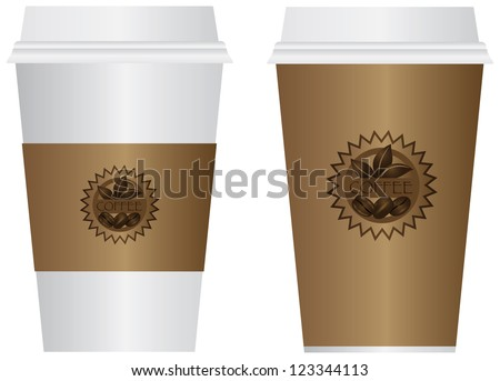 Hot Coffee Disposable To Go Cups with Sleeve Lids and Label Isolated on White Background Illustration Vector - stock vector