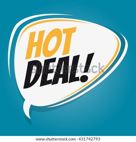 hot deal retro speech bubble - stock vector
