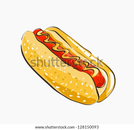 Hot Dog Cartoon - stock vector