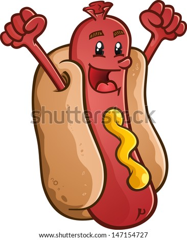 Hot Dog Cartoon Character Celebrating With Excitement - stock vector
