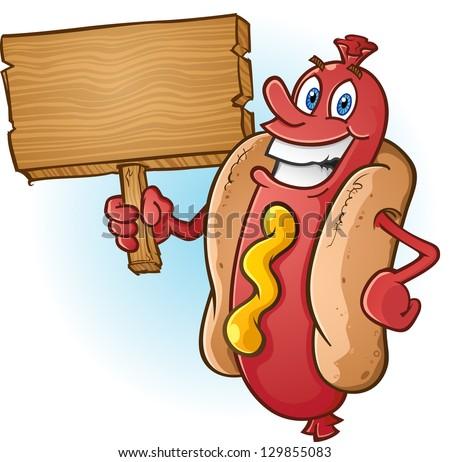 Hot Dog Cartoon Holding a Blank Wooden Sign - stock vector