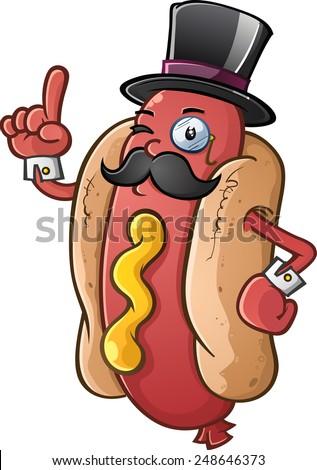 Hot Dog Gentleman Cartoon Character - stock vector