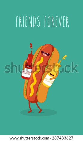 Hot dog, mustard and ketchup.Vector cartoon. Fast food. Friends forever.  - stock vector
