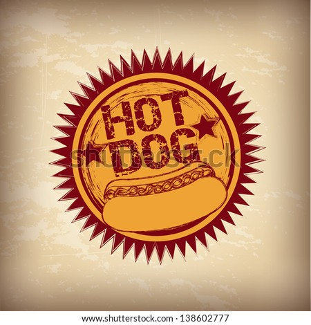 Hot dog over vintage background vector illustration - stock vector