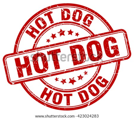 hot dog red grunge round vintage rubber stamp.hot dog stamp.hot dog round stamp.hot dog grunge stamp.hot dog.hot dog vintage stamp. - stock vector