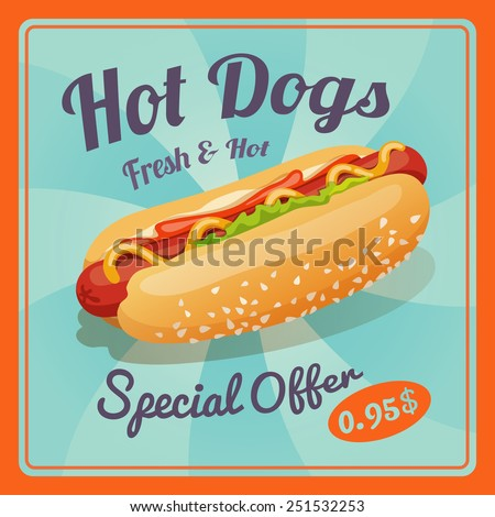 Hot dog retro fast food take away poster vector illustration - stock vector