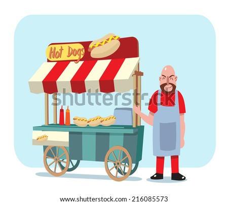 hot dog street cart with sale man - stock vector