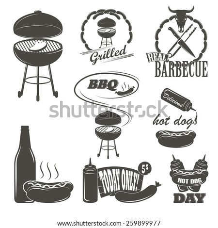 Hot Dog Vintage Typography Labels and Design Elements Sausages, Grill, Knife, Fork, Fire, Beer - stock vector