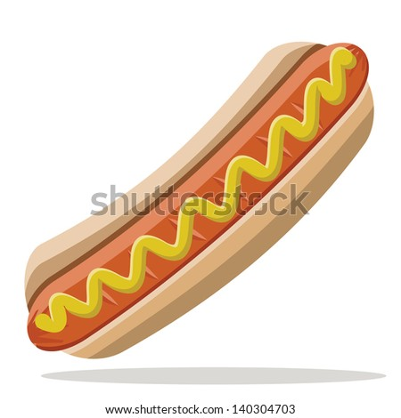 hot dog with mustard - stock vector