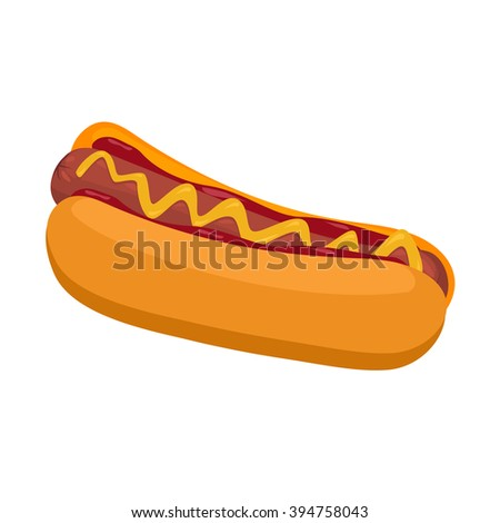 Hot Dog with mustard and ketchup unhealthy cartoon circus food vector isolated. Hot dog unhealthy food and hot dog grilled meat snack. Hot dog fast food tasty bread sausage vector. BBQ food grilled. - stock vector