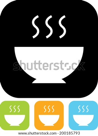 Hot meal food bowl vector icon - stock vector