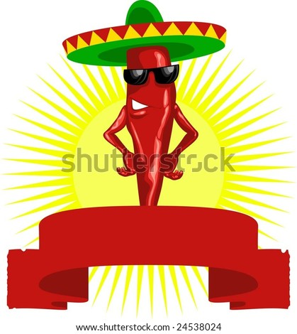 hot mexican chili pepper label red - stock vector