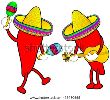 Hot peppers celebrating cinco de mayo. - stock vector