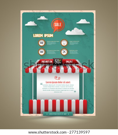 Hot promotion sale poster roof shop vintage style. Vector illustration. Can use for promotion sale.  - stock vector