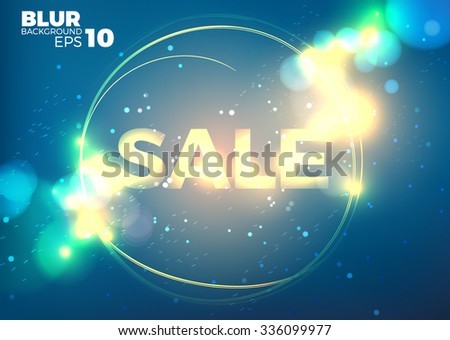 hot sale banner with flame. Glitter bokeh blur background with text.  EPS10 vector  - stock vector