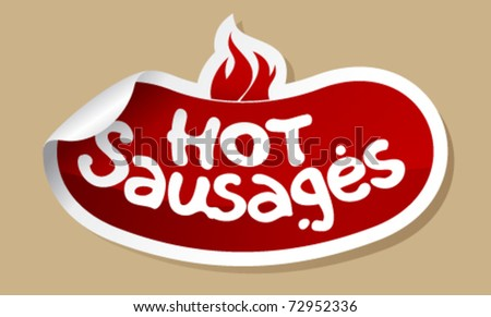 Hot sausages stickers set. - stock vector