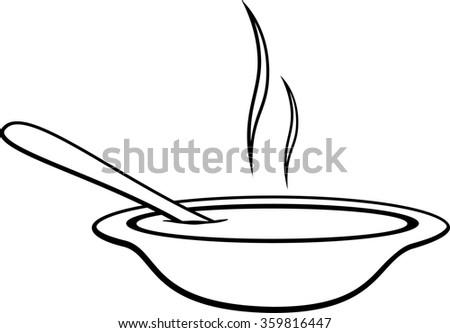 hot soup bowl - stock vector
