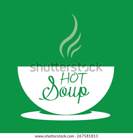 Hot soup in a bowl. Vector Illustration  - stock vector