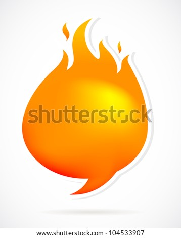 Hot speech bubbles with fire - stock vector