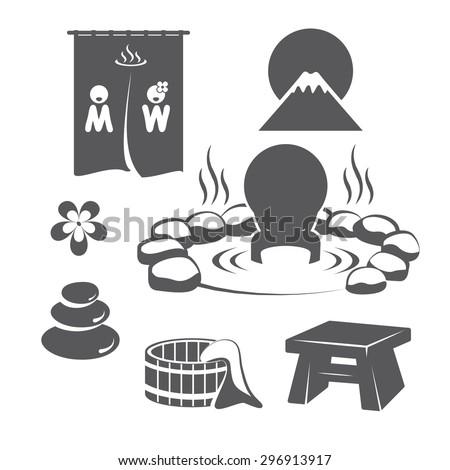 Hot Springs Set. Icons symbol logo design. Vector illustration. - stock vector