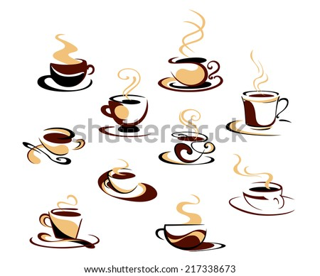 Hot steaming coffee cups set for fast food, cafe or restaurant menu design - stock vector