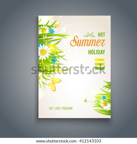 Hot summer card. Nature template for design banner,ticket, leaflet, card, poster and so on. Place for text. - stock vector