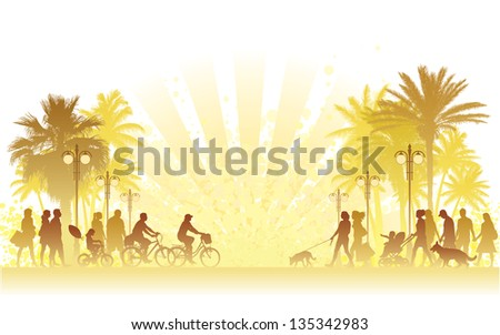 Hot summer day, people walking on a street. - stock vector