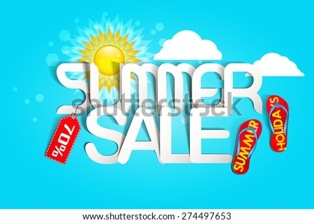 Hot Summer Sale Typography Paper Folding Design  - stock vector