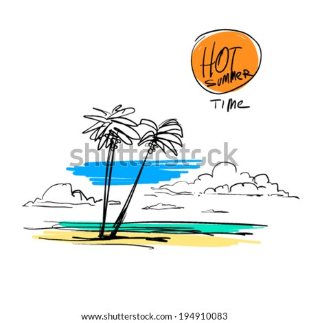 hot summer time doodles - stock vector