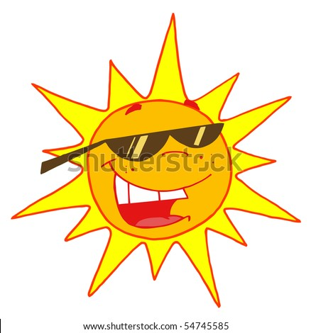 Hot Sun Cartoon Character - stock vector