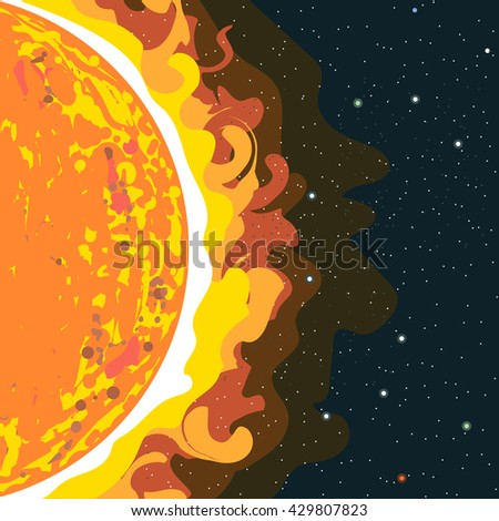 Hot sun view in section with heat and radiation. Digital vector image. - stock vector