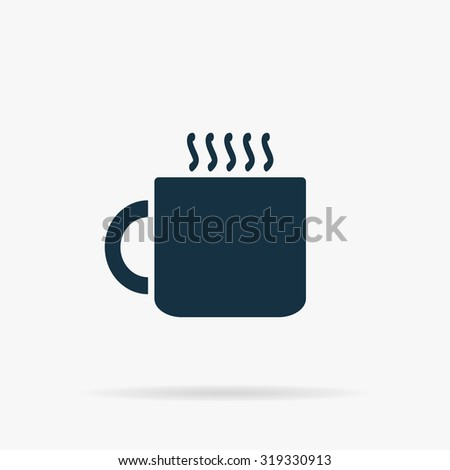 Hot tea cup. Flat vector web icon or sign on grey background with shadow. Collection modern trend concept design style illustration symbol - stock vector
