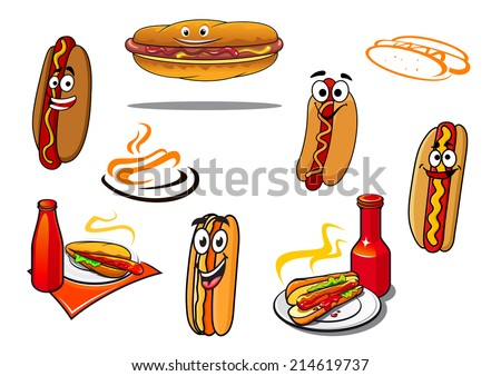 Hotdog cartoon characters and symbols set for fast food, nutrition and logo design - stock vector