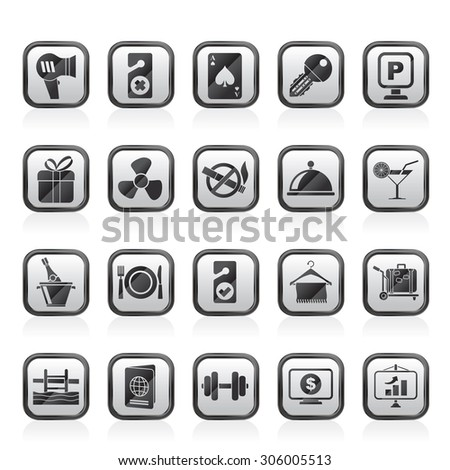 Hotel and motel services icons 2- vector icon set - stock vector