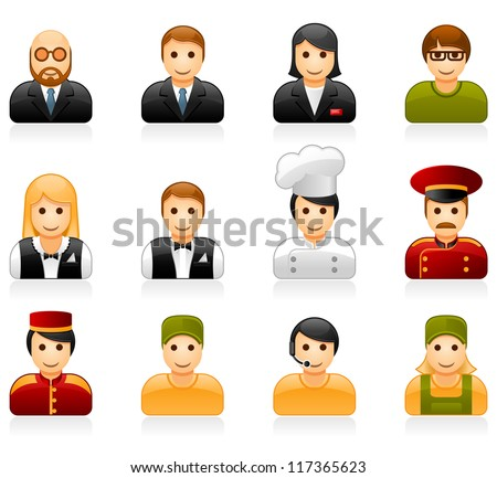 Hotel and restaurant staff glossy icon set - stock vector