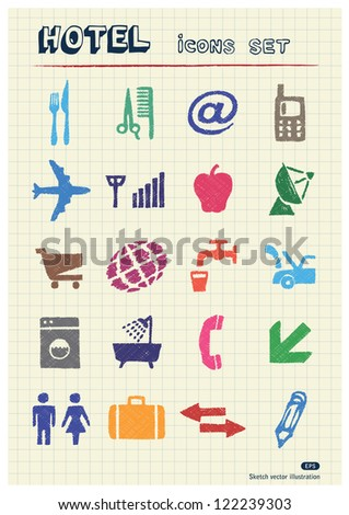 Hotel and service icons set drawn by color pencils. Hand drawn vector elements pack isolated on paper - stock vector