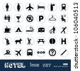 Hotel and service web icons set. Hand drawn sketch illustration isolated on white background - stock vector