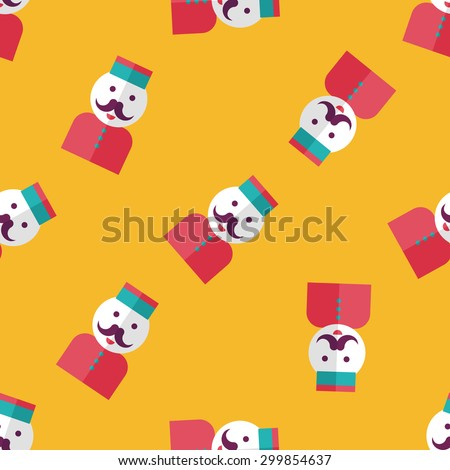 Hotel bellhop flat icon,eps10 seamless pattern background - stock vector