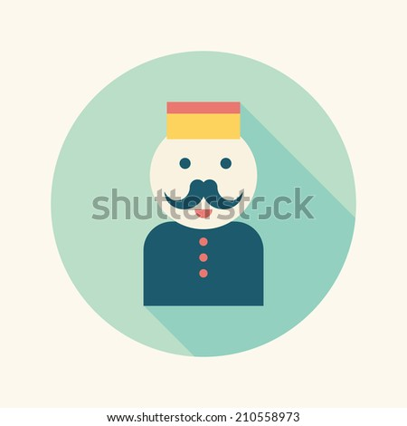 Hotel bellhop flat icon with long shadow - stock vector