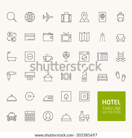Hotel Booking Outline Icons for web and mobile apps - stock vector