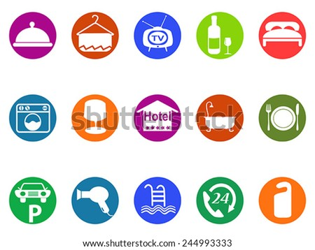 hotel buttons icon set - stock vector