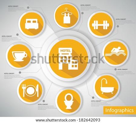 Hotel concept,Infographics,Yellow version,vector - stock vector