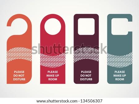 hotel do not disturb door hanger with hipster design - stock vector