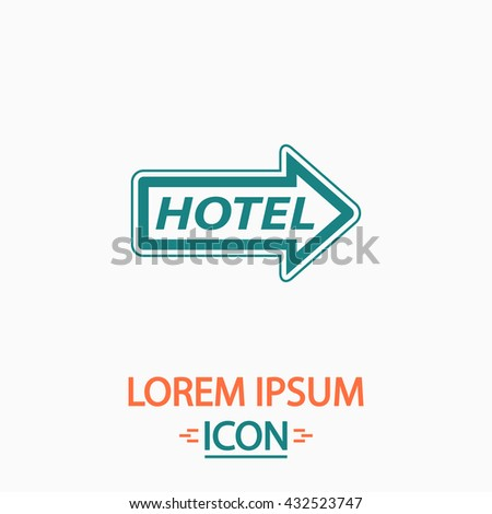 Hotel Flat icon on white background. Simple vector illustration - stock vector