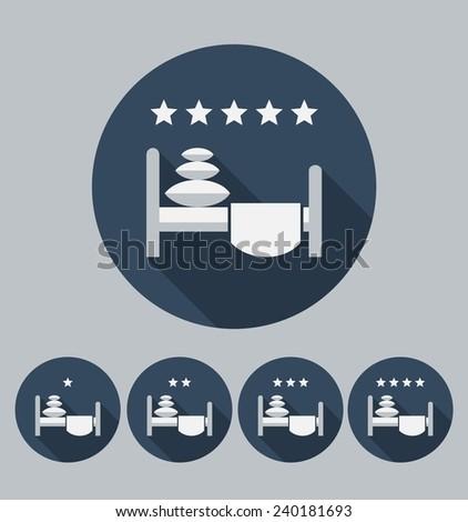 Hotel icon. Flat design. Vector. - stock vector